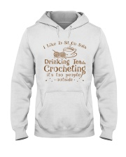 drinking tea and crocheting Hooded Sweatshirt thumbnail