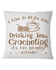 drinking tea and crocheting Square Pillowcase back
