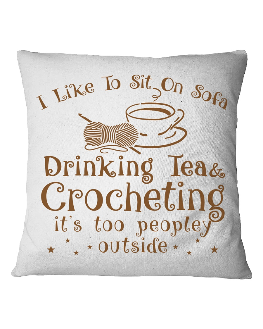 drinking tea and crocheting Square Pillowcase