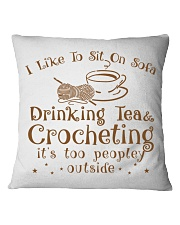 drinking tea and crocheting Square Pillowcase front