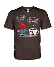 crochet-coffee V-Neck T-Shirt thumbnail