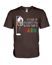 In Case Of Accident My Blood Type Is Yarn V-Neck T-Shirt thumbnail