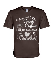 ALL-I-WANT-TO-DO-DRINK-COFFEE-CROCHET V-Neck T-Shirt thumbnail