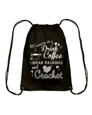 ALL-I-WANT-TO-DO-DRINK-COFFEE-CROCHET Drawstring Bag thumbnail