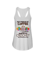 Just Pour Me My Coffee Hand Me My Crochet Ladies Flowy Tank thumbnail
