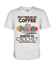 Just Pour Me My Coffee Hand Me My Crochet V-Neck T-Shirt thumbnail