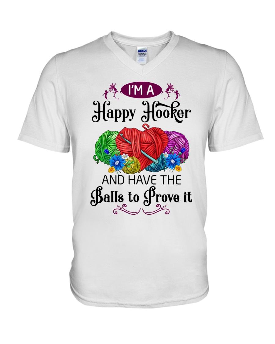 I'M A HAPPY HOOKER - CROCHET2 V-Neck T-Shirt
