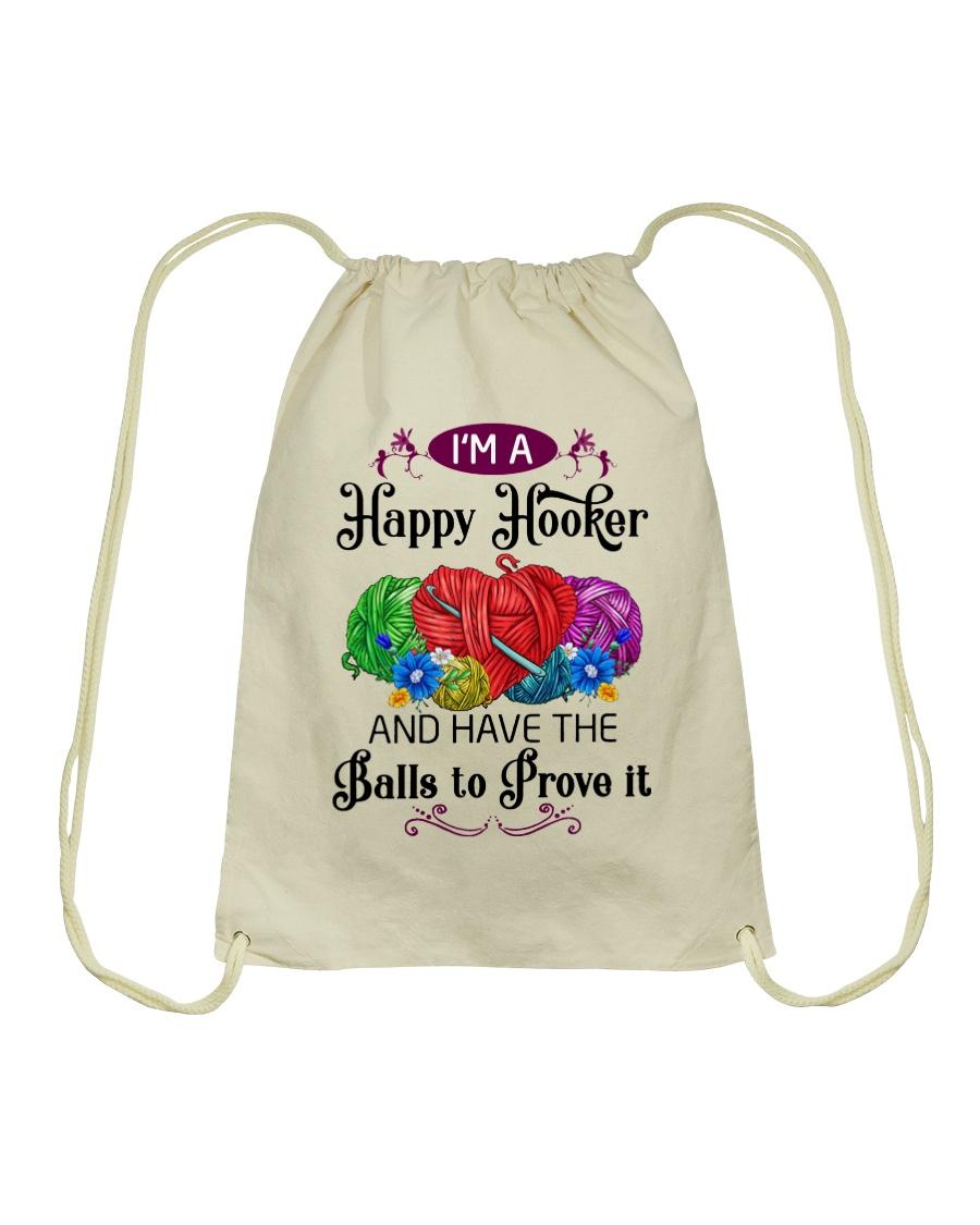 I'M A HAPPY HOOKER - CROCHET2 Drawstring Bag