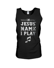 Mens In Jesus Name I Play Christian Musician Fun M Unisex Tank thumbnail