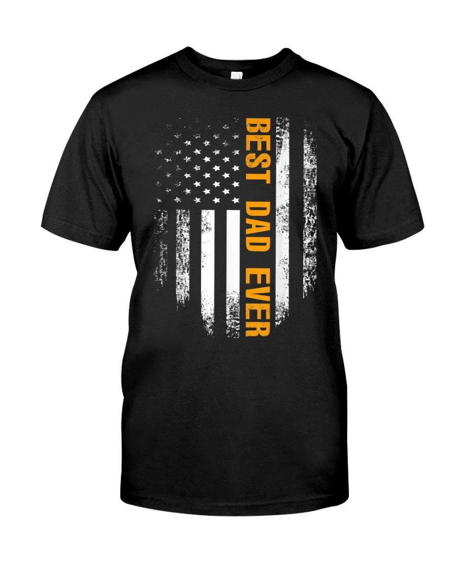 Vintage Best Dad Ever Shirt American Flag Tshirt Classic T-Shirt