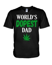 Worlds Dopest Dad Weed Marijuana V-Neck T-Shirt thumbnail