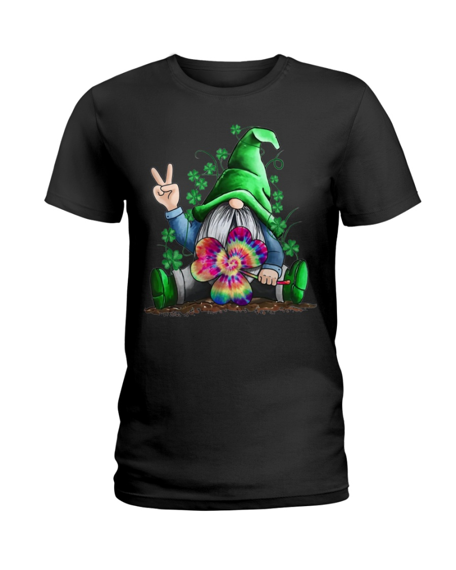 Hippie Gnome happy St Patrick day Ladies T-Shirt