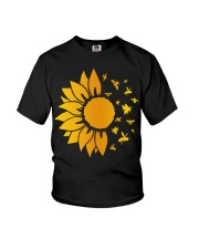 sunflower with honey bee  Youth T-Shirt thumbnail