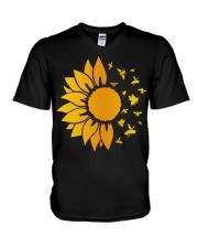 sunflower with honey bee  V-Neck T-Shirt thumbnail