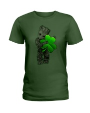 Groot shamrock Happy Patrick day Ladies T-Shirt front