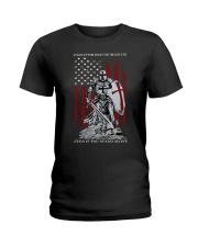 Knight Templar Crusader Warrior American Flag Ladies T-Shirt front