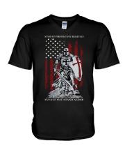 Knight Templar Crusader Warrior American Flag V-Neck T-Shirt thumbnail