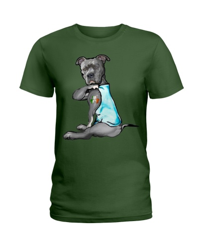 Happy st patrick shamrock pitbull dog