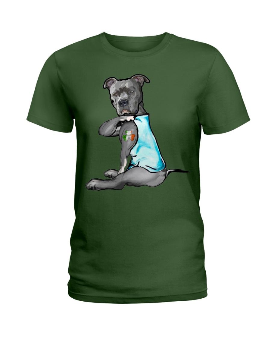 Happy st patrick shamrock pitbull dog  Ladies T-Shirt