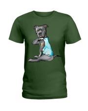 Happy st patrick shamrock pitbull dog  Ladies T-Shirt front