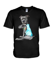 Happy st patrick shamrock pitbull dog  V-Neck T-Shirt thumbnail