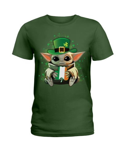 Yoda baby with shamrock happy patrick's day