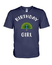 Birthday Girl PEACOCK T-Shirt PEACOCK Shir V-Neck T-Shirt front