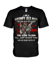 Grumpy Old Man - Too Old To Fight - Funny Ve V-Neck T-Shirt thumbnail