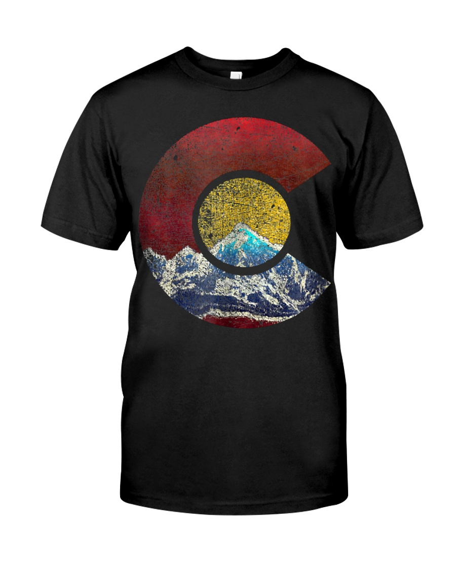 Colorado Shirt with Flag Themed Mountain Classic T-Shirt