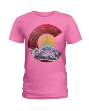 Colorado Shirt with Flag Themed Mountain Ladies T-Shirt front