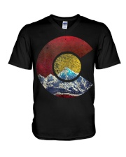 Colorado Shirt with Flag Themed Mountain V-Neck T-Shirt thumbnail