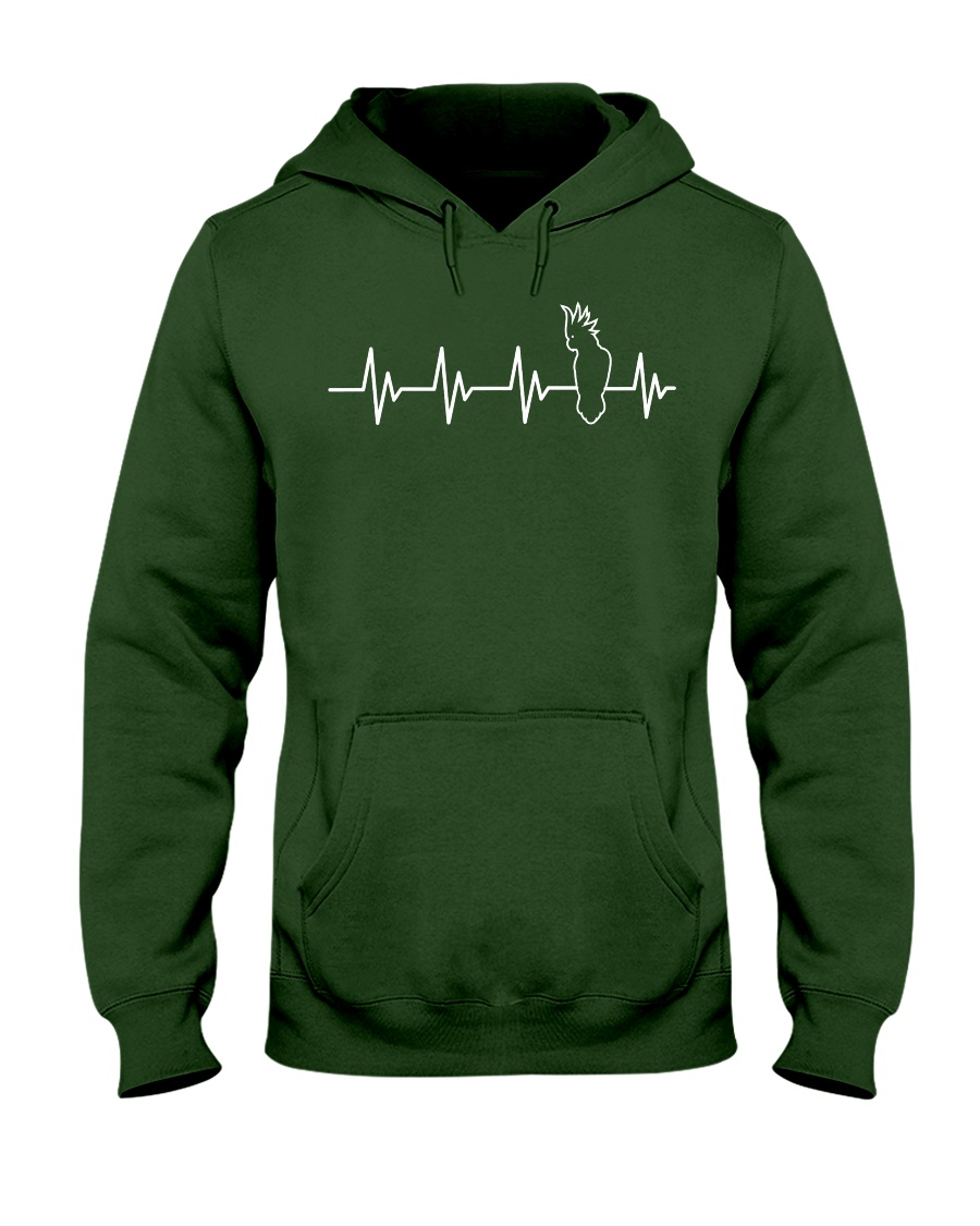 Bird Shirt - Heartbeat Bird Shirt Cockato Hooded Sweatshirt