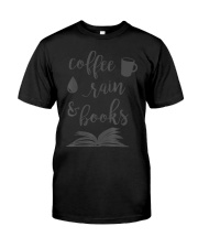 Coffee Rain and Books Bookworm Reading Gift  Premium Fit Mens Tee thumbnail