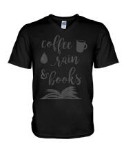 Coffee Rain and Books Bookworm Reading Gift  V-Neck T-Shirt thumbnail