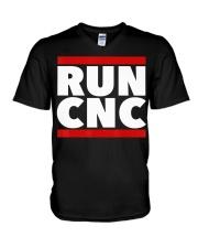 RUN CNC shirt Funny machinist engineer G-c V-Neck T-Shirt thumbnail