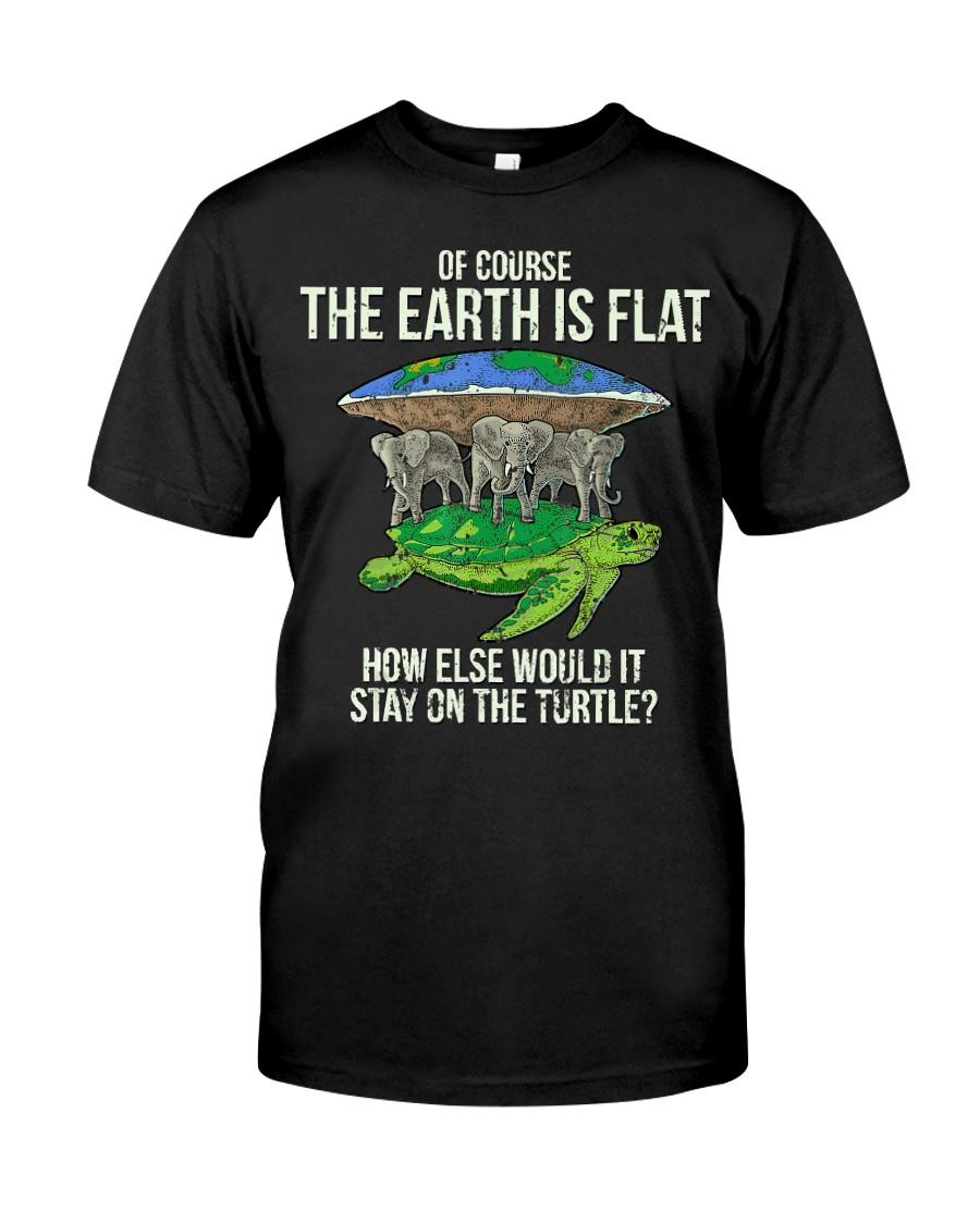 Flat Earth Society T Shirt Turtle Elephants  Classic T-Shirt