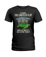 Flat Earth Society T Shirt Turtle Elephants  Ladies T-Shirt thumbnail
