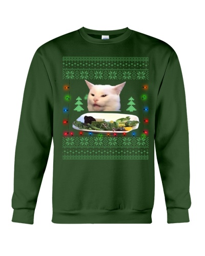 Funny Meme Christmas Confused Cat Unisex Sweater