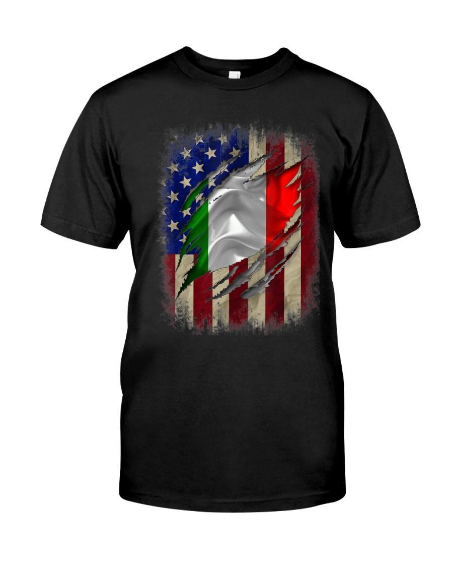 American Flag Italian Blood Family Heritage   Classic T-Shirt