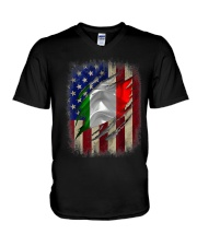 American Flag Italian Blood Family Heritage   V-Neck T-Shirt thumbnail