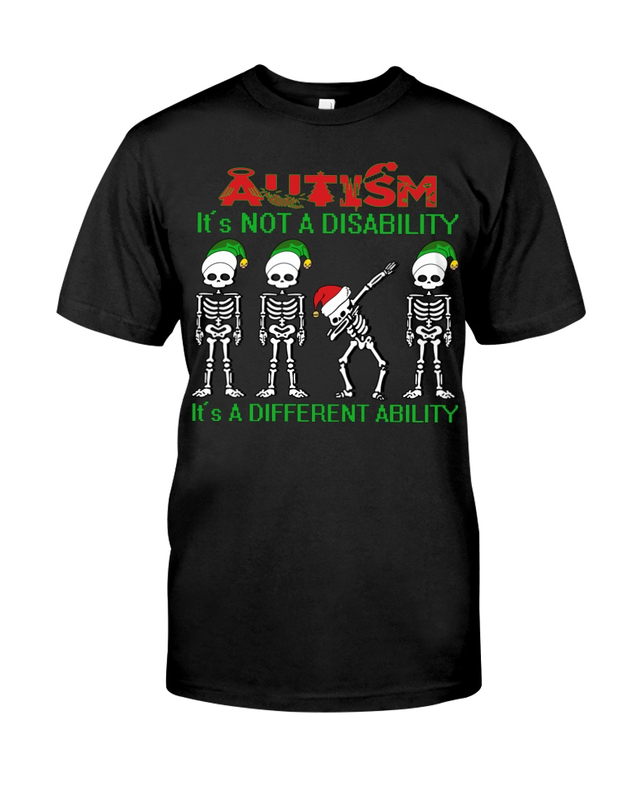Skeleton autism is not a disability it's a differe Premium Fit Mens Tee