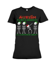 Skeleton autism is not a disability it's a differe Premium Fit Ladies Tee thumbnail