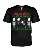 Skeleton autism is not a disability it's a differe V-Neck T-Shirt thumbnail