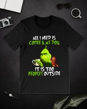 Grinch all i need is coffee and my dog it is too p Premium Fit Mens Tee lifestyle-mens-crewneck-front-16