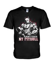 Don't touch my pitbull V-Neck T-Shirt thumbnail