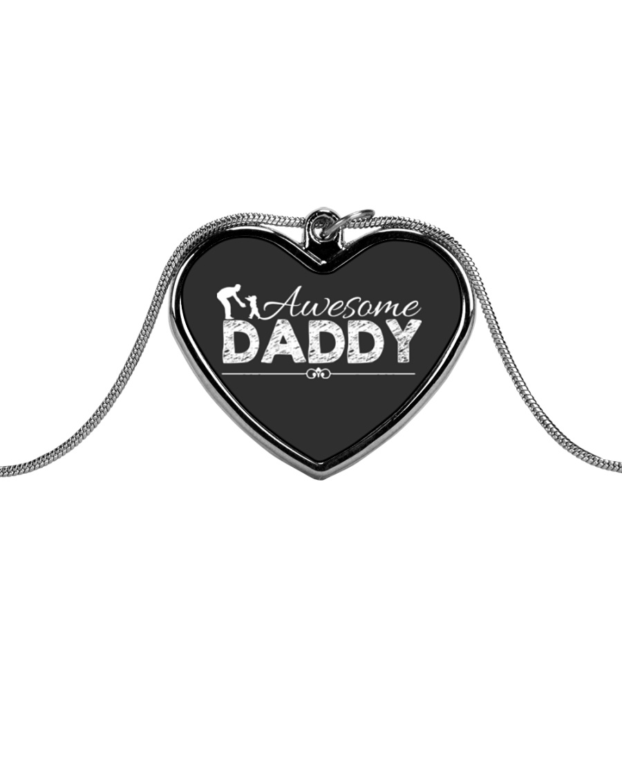 AWESOME DADDY Metallic Heart Necklace