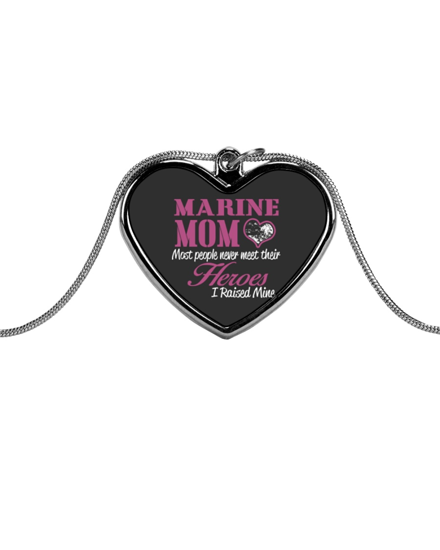 MARINE MOM Metallic Heart Necklace