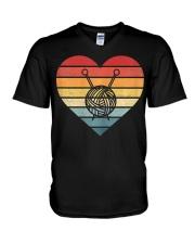 Retro Sunset Yarn Funny Knitter V-Neck T-Shirt tile