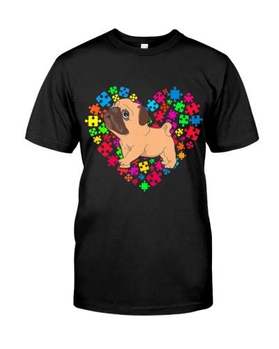 Autism Awareness Pug Dog Mom Dad Valentine Gifts T