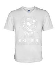 SWIMMING BIKE RUN V-Neck T-Shirt thumbnail